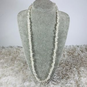"""Glass Bead Necklace Clear Irregular Shapes 32"""""""